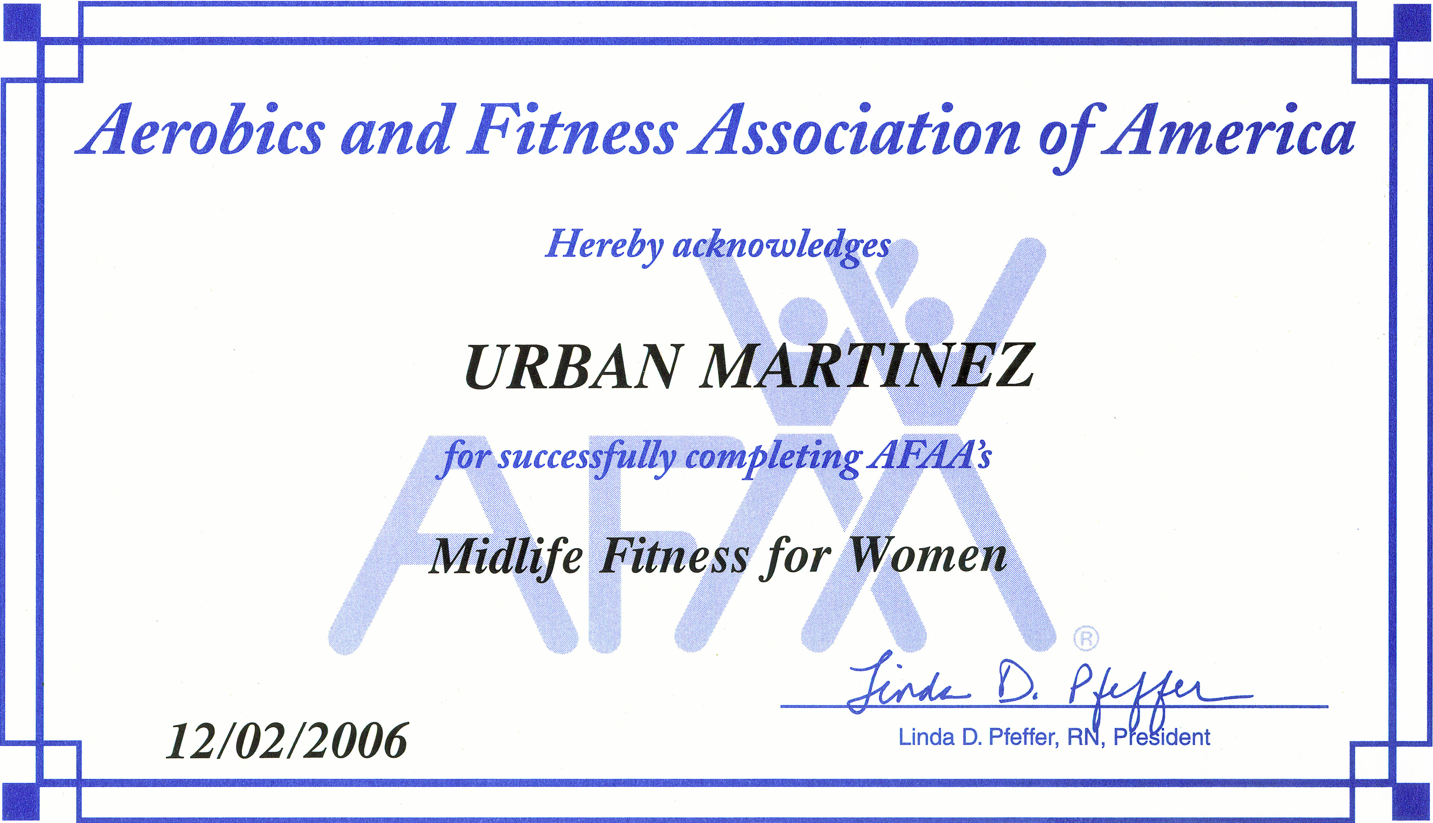 midlife fitness for women certificate
