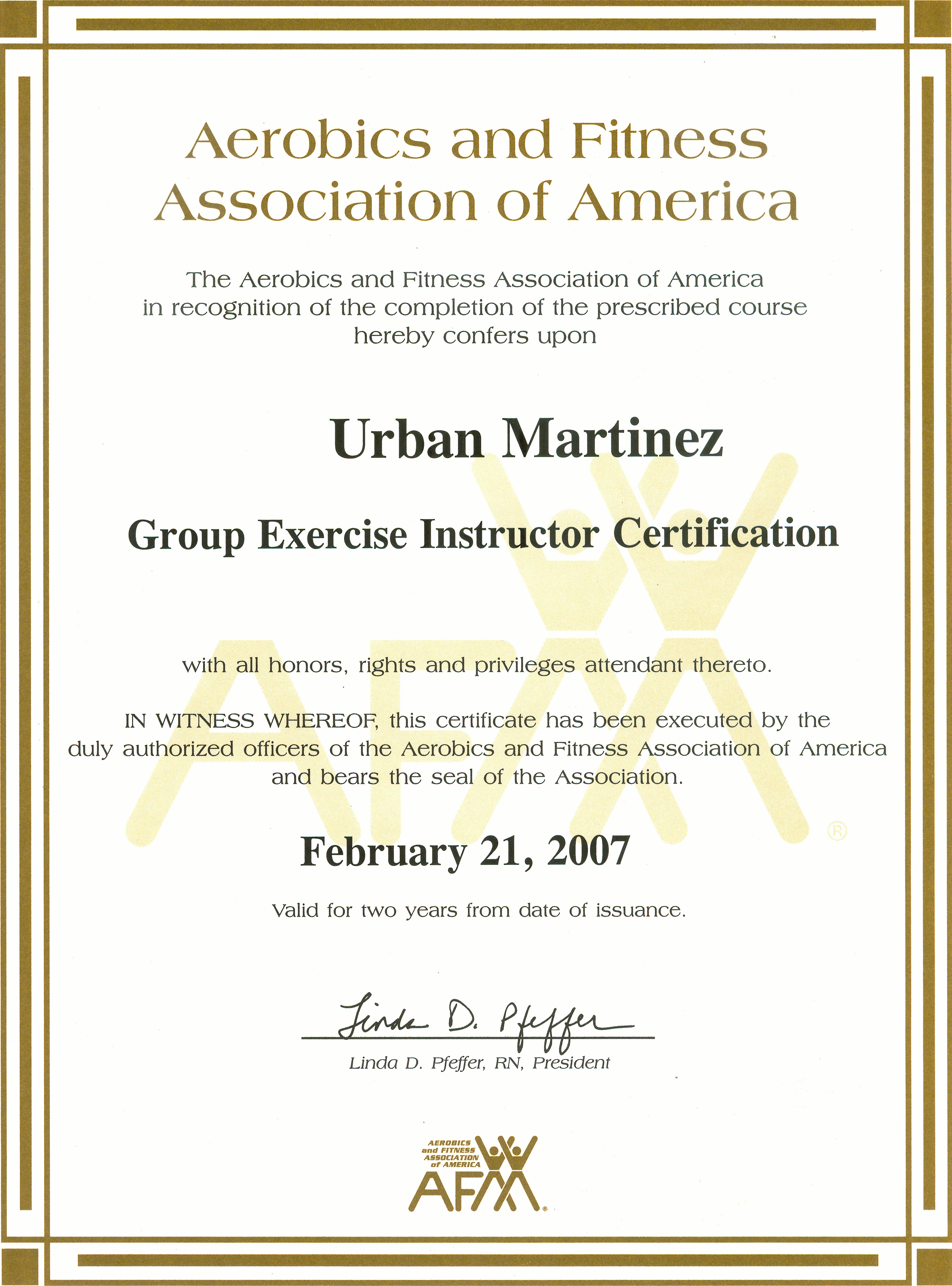 aerobic group fitness certificate